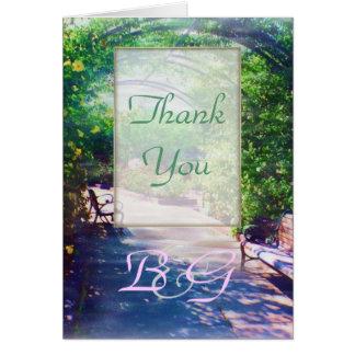 バラ色の木陰の結婚式のありがとう カード