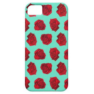 バラ色の赤く、明るく青いパターン iPhone SE/5/5s ケース