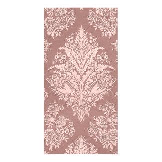 バラ色ベージュ色のヴィンテージの花柄 カード