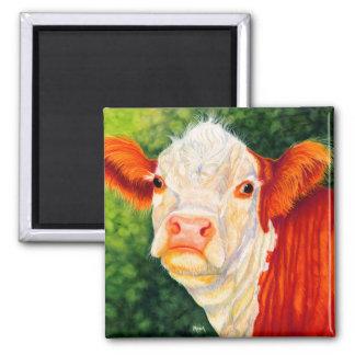 バラ色幸せな雌牛のHereford牛磁石 マグネット