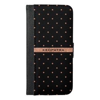 バラ金ゴールドおよび黒い水玉模様パターン iPhone 6/6S PLUS ウォレットケース
