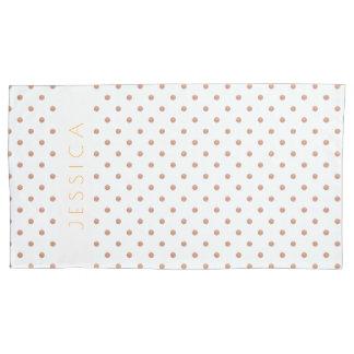 バラ金ゴールド及び白い水玉模様パターン 枕カバー