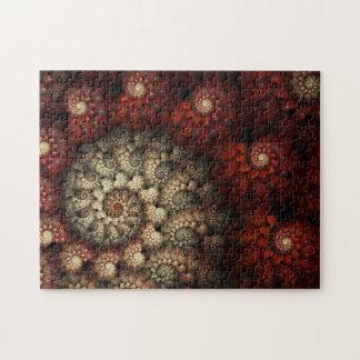 """""""バラ""""の赤と白の螺線形のフラクタル絵を描きました ジグソーパズル"""