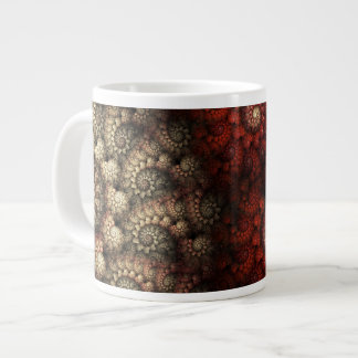"""""""バラ""""の赤と白の螺線形のフラクタル絵を描きました ジャンボコーヒーマグカップ"""