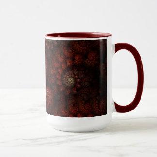 """""""バラ""""の赤と白の螺線形のフラクタル絵を描きました マグカップ"""