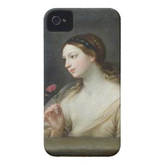 バラ(キャンバスの油)を持つ女の子 Case-Mate iPhone 4 ケース