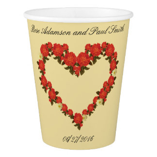 バラ-ハートが付いている紙コップを結婚します 紙コップ
