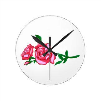 バラ ラウンド壁時計