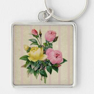 バラ、レトロの花のピンクの旧式な花の花束 キーホルダー