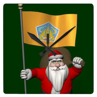 バリ島の旗を持つサンタクロース スクエア壁時計