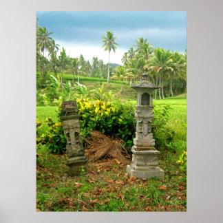 バリ島の米分野の神社 ポスター