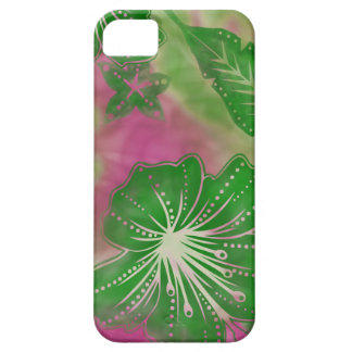 バリ島の花のろうけつ染めの熱帯iPhone 5の場合 iPhone SE/5/5s ケース