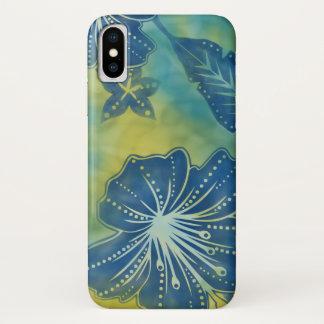 バリ島の花のろうけつ染めの熱帯iPhone 7の場合 iPhone X ケース