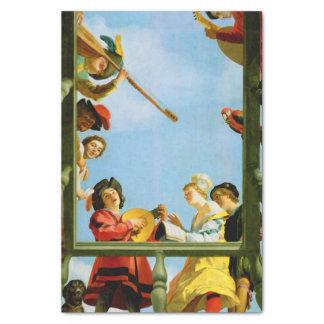 バルコニーのファインアートのオランダの絵画の音楽グループ 薄葉紙