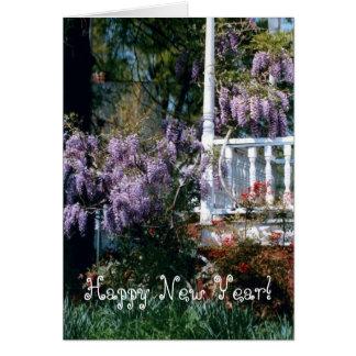 バルコニーのルピナス属の新年 カード