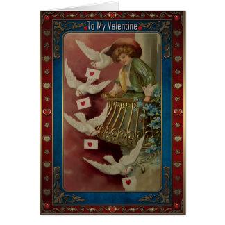 バルコニーの男の子および手紙を持つ鳩 カード