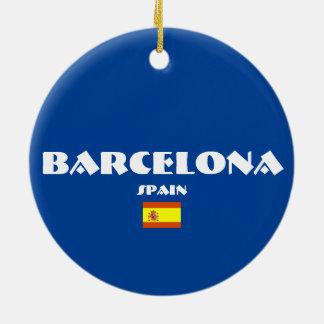 バルセロナのサッカーの楕円形のクリスマスオーナメント セラミックオーナメント