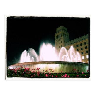 バルセロナの噴水- Placa de Catalunya -郵便はがき ポストカード