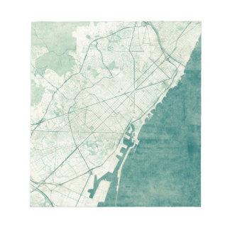 バルセロナの地図の青いヴィンテージの水彩画 ノートパッド