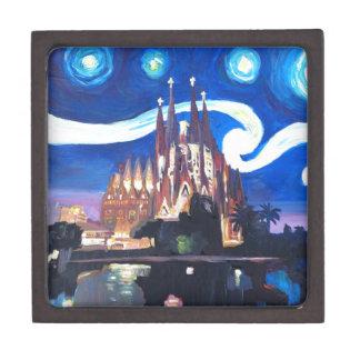 バルセロナのSagrada Familiaの星明かりの夜 ギフトボックス