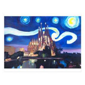 バルセロナのSagrada Familiaの星明かりの夜 ポストカード