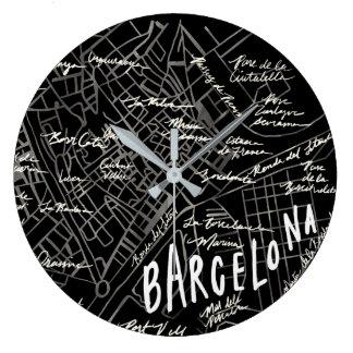 バルセロナスペインの地図の時計-黒いヴィンテージのスタイル ラージ壁時計