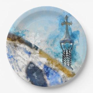 バルセロナスペインの宗教十字 ペーパープレート