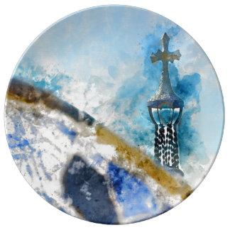 バルセロナスペインのParc Guellの十字 磁器プレート