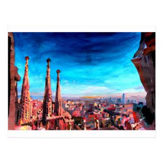 バルセロナ都市眺めおよびSagrada Familia ポストカード