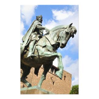 バルセロナ、スペインの乗馬の彫像 便箋