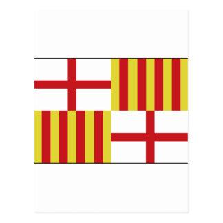 バルセロナ、スペインの旗 ポストカード
