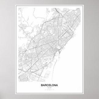 バルセロナ、スペインの最小主義の地図ポスター(スタイル2) ポスター