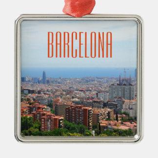 バルセロナ、スペインの空中写真 メタルオーナメント