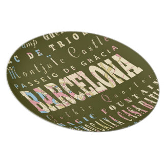 バルセロナ、スペインの魅力及び有名な場所 プレート
