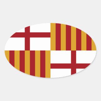 バルセロナ(スペイン)の旗 楕円形シール