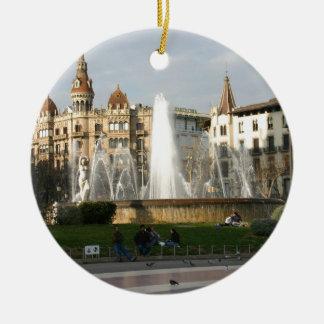 バルセロナ--広場--Catalunya--[kan.k] .JPG 陶器製丸型オーナメント