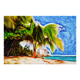 バルバドスのビーチ場面 ポスター