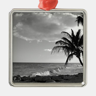 バルバドスのヤシの木のビーチ メタルオーナメント