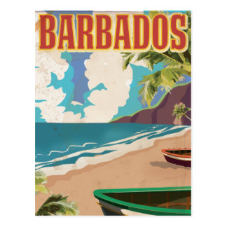 バルバドスのヴィンテージ旅行ポスター ポストカード