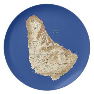 バルバドスの地図のプレート プレート