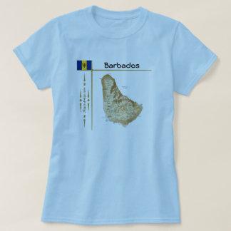 バルバドスの地図 + 旗 + タイトルのTシャツ Tシャツ