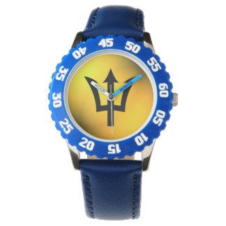 バルバドスの旗の黒の三叉の矛球 腕時計
