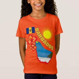 バルバドスの花及び地図の明るいグラフィックのプライド Tシャツ
