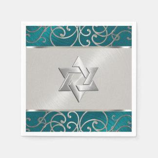 バルミツワーのエレガントなティール(緑がかった色)の青く、銀製の線条細工 スタンダードカクテルナプキン