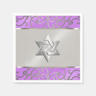 バルミツワーのエレガントな蘭の紫色の銀製の線条細工 スタンダードカクテルナプキン