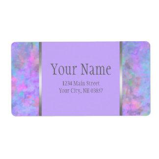 バルミツワーの抽象的な紫色のピンクの青い銀 ラベル