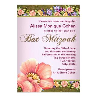 バルミツワーの珊瑚の緑の花の招待状 カード