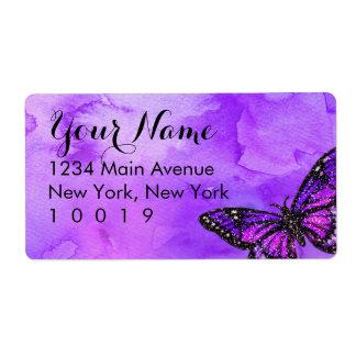 バルミツワーの蝶紫色およびピンクの色彩の鮮やか ラベル
