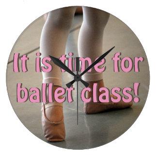 バレエのクラス、初心者のバレエの柱時計の時間 ラージ壁時計