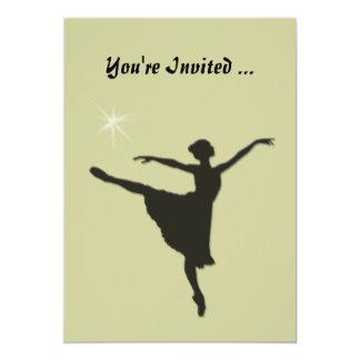 バレエのシルエットの招待状 カード